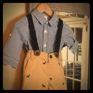 Short suspenders outfit w/ top-Gymboree Size 6-12
